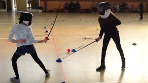 Children at fencing club