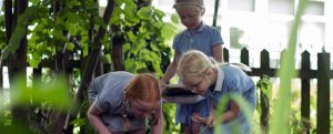 Girls from Girton Glebe Primary school playing outside